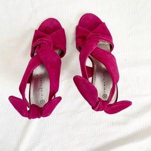 Trina Turk suede bow tie heels
